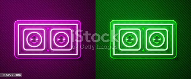 istock Glowing neon line Electrical outlet icon isolated on purple and green background. Power socket. Rosette symbol. Vector 1292770186
