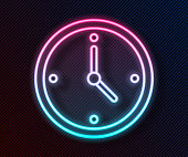 istock Glowing neon line Fast time delivery icon isolated on black background. Timely service, stopwatch in motion, deadline concept, clock speed. Vector Illustration 1226363447
