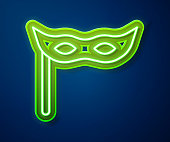 Glowing neon line Festive mask icon isolated on blue background. Merry Christmas and Happy New Year. Vector.