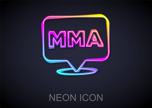 Glowing neon line Fight club MMA icon isolated on black background. Mixed martial arts. Vector