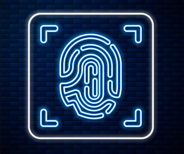 Glowing neon line Fingerprint icon isolated on brick wall background. ID app icon. Identification sign. Touch id. Vector Glowing neon line Fingerprint icon isolated on brick wall background. ID app icon. Identification sign. Touch id. Vector. human finger stock illustrations