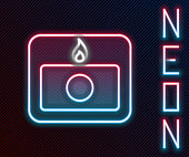 istock Glowing neon line Fire alarm system icon isolated on black background. Pull danger fire safety box. Colorful outline concept. Vector Illustration 1257446197