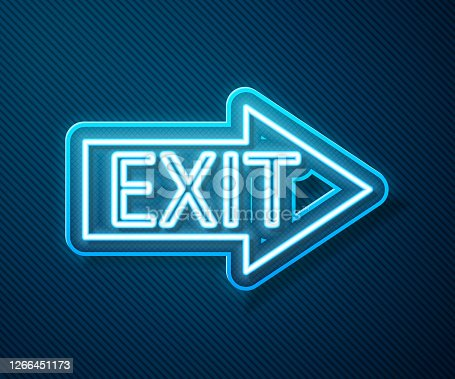 Glowing neon line Fire exit icon isolated on blue background. Fire emergency icon. Vector Illustration