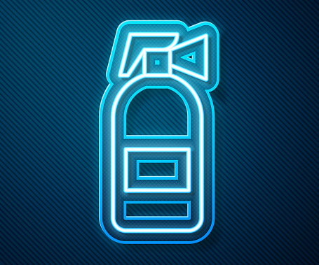 Glowing neon line Fire extinguisher icon isolated on blue background. Vector Illustration