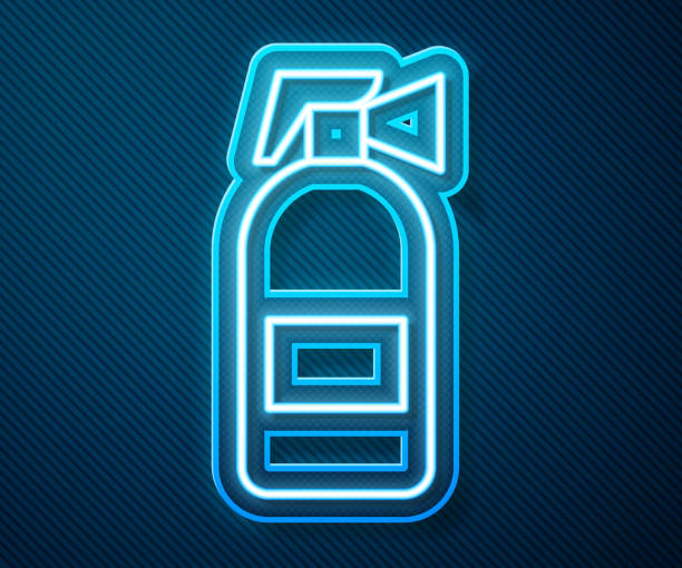 Glowing neon line Fire extinguisher icon isolated on blue background. Vector Illustration Glowing neon line Fire extinguisher icon isolated on blue background. Vector Illustration blue clipart stock illustrations