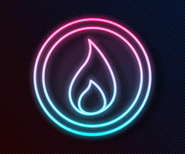 ilustrações de stock, clip art, desenhos animados e ícones de glowing neon line fire flame icon isolated on black background. vector illustration - inflamável