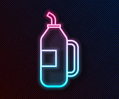 istock Glowing neon line Fitness shaker icon isolated on black background. Sports shaker bottle with lid for water and protein cocktails. Vector Illustration 1269286407