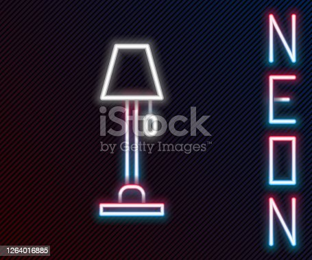 Glowing neon line Floor lamp icon isolated on black background. Colorful outline concept. Vector Illustration