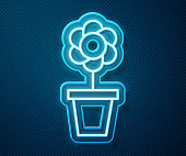 istock Glowing neon line Flower in pot icon isolated on blue background. Plant growing in a pot. Potted plant sign. Vector Illustration 1227562642