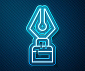 istock Glowing neon line Fountain pen nib icon isolated on blue background. Pen tool sign. Vector Illustration 1253907595