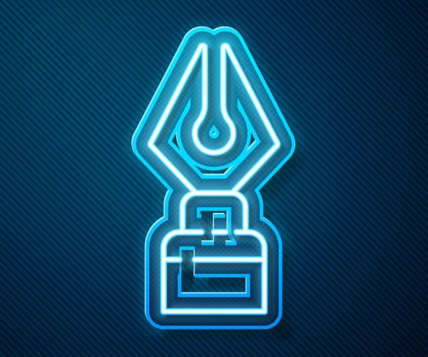 bildbanksillustrationer, clip art samt tecknat material och ikoner med glödande neonlinje fountain penna nib ikonen isolerad på blå bakgrund. tecken på ritstiftsverktyget. vektor illustration - stålpenna