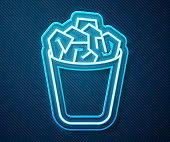 Glowing neon line Full trash can icon isolated on blue background. Garbage bin sign. Recycle basket icon. Office trash icon. Vector Illustration