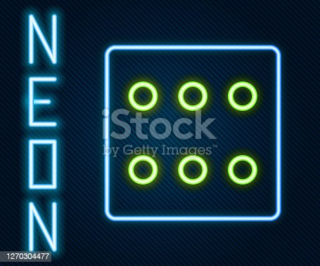 Glowing neon line Game dice icon isolated on black background. Casino gambling. Colorful outline concept. Vector Illustration