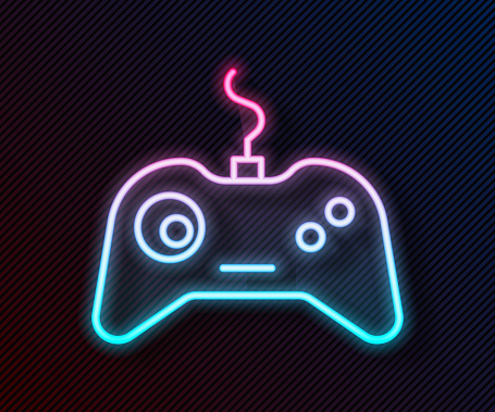 Glowing neon line Gamepad icon isolated on black background. Game controller. Vector Illustration