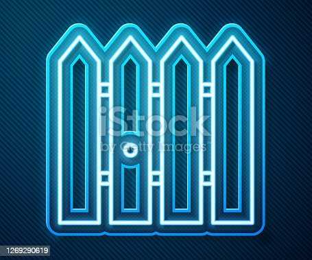 Glowing neon line Garden fence wooden icon isolated on blue background. Vector Illustration