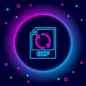istock Glowing neon line GIF file document. Download gif button icon isolated on black background. GIF file symbol. Colorful outline concept. Vector 1305148090