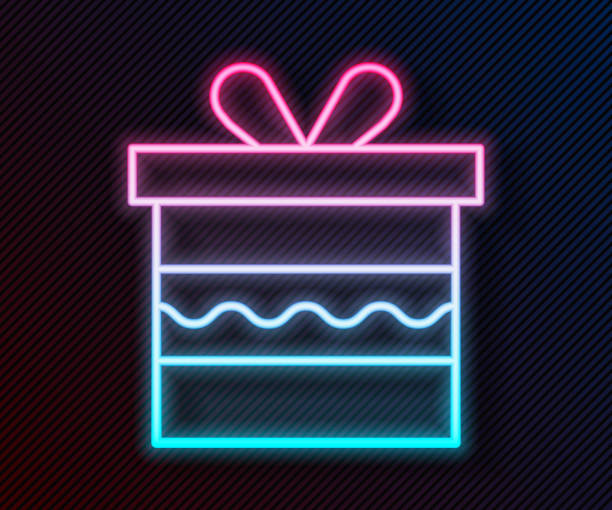 Glowing neon line Gift box icon isolated on black background. Happy Birthday. Vector Illustration Glowing neon line Gift box icon isolated on black background. Happy Birthday. Vector Illustration anniversary clipart stock illustrations