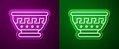 Glowing neon line Greek ancient bowl icon isolated on purple and green background. Antique amphora with patterns collection. Ancient Greece bowl. Vector.