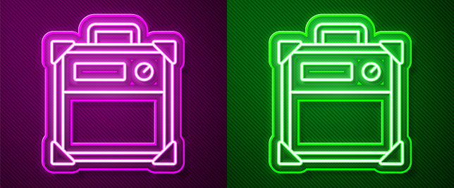 Glowing neon line Guitar amplifier icon isolated on purple and green background. Musical instrument. Vector