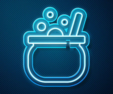 Glowing neon line Halloween witch cauldron icon isolated on blue background. Happy Halloween party. Vector.
