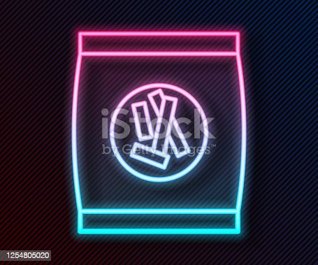 Glowing neon line Hard bread chucks crackers icon isolated on black background. Vector Illustration