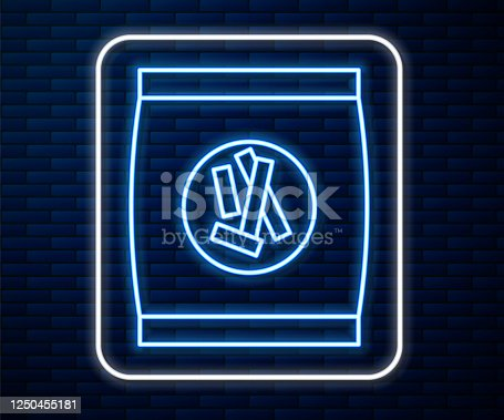 Glowing neon line Hard bread chucks crackers icon isolated on brick wall background. Vector Illustration