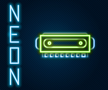 Glowing neon line Harmonica icon isolated on black background. Musical instrument. Colorful outline concept. Vector Illustration