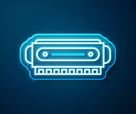 Glowing neon line Harmonica icon isolated on blue background. Musical instrument. Vector Illustration