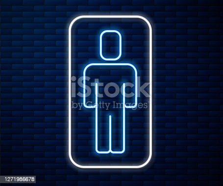 Glowing neon line Head hunting icon isolated on brick wall background. Business target or Employment sign. Human resource and recruitment for business. Vector.