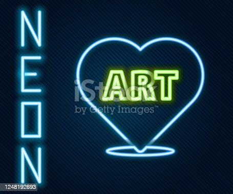 Glowing neon line Heart with text art icon isolated on black background. Colorful outline concept. Vector Illustration