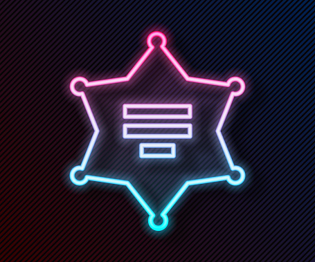Glowing neon line Hexagram sheriff icon isolated on black background. Police badge icon. Vector Illustration