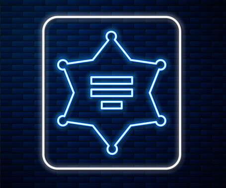 Glowing neon line Hexagram sheriff icon isolated on brick wall background. Police badge icon. Vector Illustration