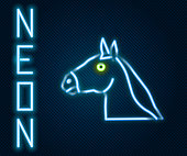 Glowing neon line Horse head icon isolated on black background. Animal symbol. Colorful outline concept. Vector.