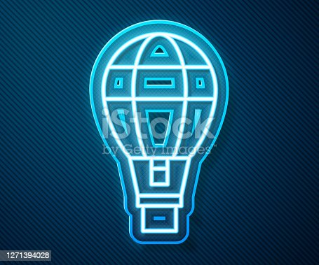 Glowing neon line Hot air balloon icon isolated on blue background. Air transport for travel. Vector Illustration