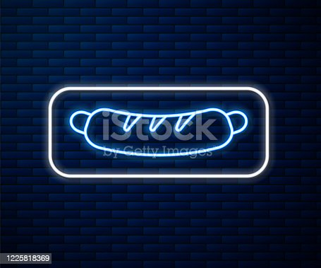 istock Glowing neon line Hotdog sandwich icon isolated on brick wall background. Sausage icon. Fast food sign. Vector Illustration 1225818369