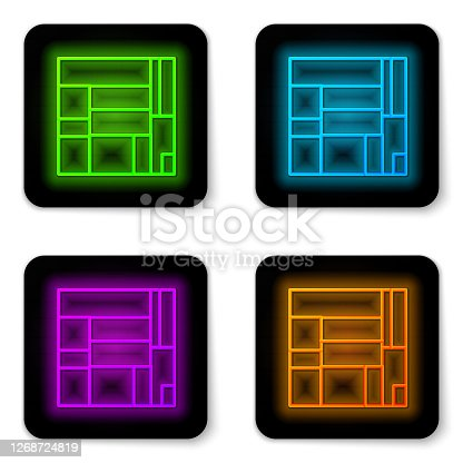 istock Glowing neon line House Edificio Mirador icon isolated on white background. Mirador social housing by MVRDV architects in Madrid, Spain. Black square button. Vector 1268724819