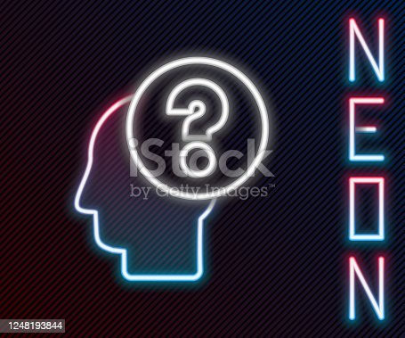 istock Glowing neon line Human head with question mark icon isolated on black background. Colorful outline concept. Vector Illustration 1248193844
