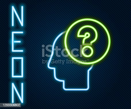 istock Glowing neon line Human head with question mark icon isolated on black background. Colorful outline concept. Vector Illustration 1253306802