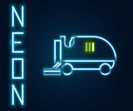 Glowing neon line Ice resurfacer icon isolated on black background. Ice resurfacing machine on rink. Cleaner for ice rink and stadium. Colorful outline concept. Vector Illustration