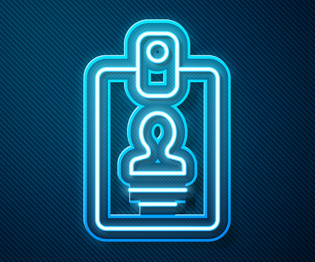 Glowing neon line Identification badge icon isolated on blue background. It can be used for presentation, identity of the company, advertising. Vector Illustration