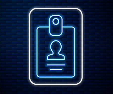 Glowing neon line Identification badge icon isolated on brick wall background. It can be used for presentation, identity of the company, advertising. Vector Illustration