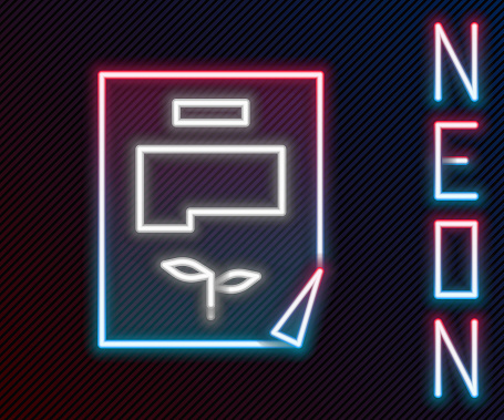 Glowing neon line Leaf document icon isolated on black background. Nature file icon. Colorful outline concept. Vector Illustration