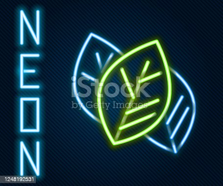 istock Glowing neon line Leaf icon isolated on black background. Leaves sign. Fresh natural product symbol. Colorful outline concept. Vector Illustration 1248192531