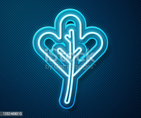 istock Glowing neon line Leaf icon isolated on blue background. Leaves sign. Fresh natural product symbol. Vector Illustration 1252469010