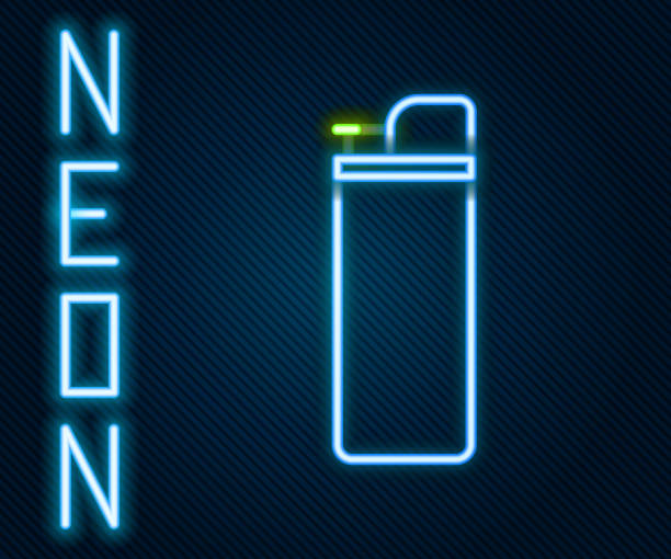 Glowing neon line Lighter icon isolated on black background. Colorful outline concept. Vector Illustration Glowing neon line Lighter icon isolated on black background. Colorful outline concept. Vector Illustration hot pockets stock illustrations