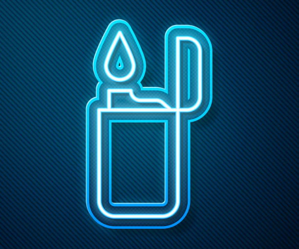 Glowing neon line Lighter icon isolated on blue background. Vector Illustration Glowing neon line Lighter icon isolated on blue background. Vector Illustration hot pockets stock illustrations