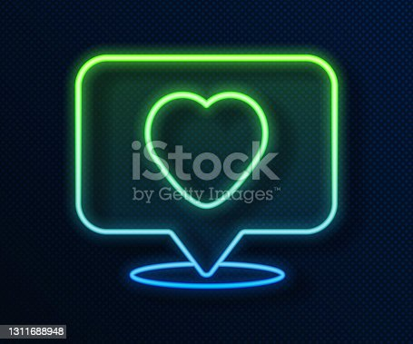 istock Glowing neon line Like and heart icon isolated on blue background. Counter Notification Icon. Follower Insta. Vector 1311688948