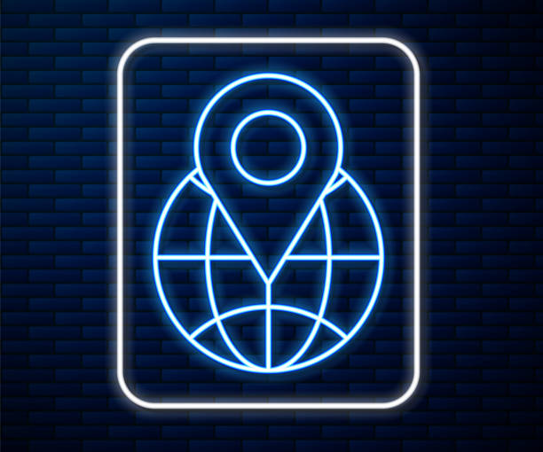 ilustrações de stock, clip art, desenhos animados e ícones de glowing neon line location on the globe icon isolated on brick wall background. world or earth sign. vector illustration - europe points