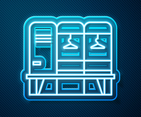 Glowing neon line Locker or changing room for hockey, football, basketball team or workers icon isolated on blue background. Vector Illustration
