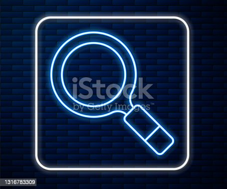 istock Glowing neon line Magnifying glass with search icon isolated on brick wall background. Detective is investigating. Vector 1316783309